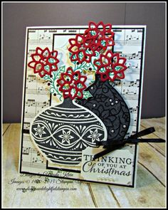 PP302 Christmas Vases by kleinsong - Cards and Paper .  Crafts at Splitcoaststampers.  (Pin#1: Flowers: Vases...  Pin+: Chirstmas: Florals).