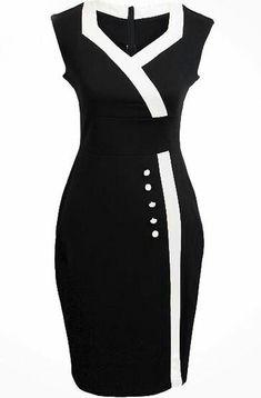 Shop Black V Neck Sleeveless Buttons Bodycon Dress online. SheIn offers Black V Neck Sleeveless Buttons Bodycon Dress & more to fit your fashionable needs. Cute Dresses, Vintage Dresses, Beautiful Dresses, Dresses For Work, Mode Outfits, Dress Outfits, Fashion Dresses, Dress Skirt, Bodycon Dress