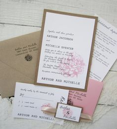 Rustic Peony Wedding Invitation  Pink Vintage by RiverCityStudio, $100.00