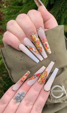 Classy Acrylic Nails, Acrylic Nails Coffin Pink, French Acrylic Nails, Gold Glitter Nails, Cute Acrylic Nail Designs, Long Nail Designs, Fall Acrylic Nails, Fall Nail Designs, Rhinestone Nails