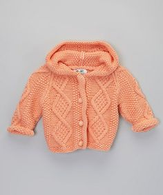 Take a look at this Tangerine Knit Hoodie Cardigan - Infant by fingerprints new york on #zulily today!