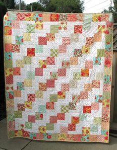 This is my quilt made with Marmalade by Moda. Designed by Bonnie and Camille, Marmalade has to be my all time favorite fabric collect. Charm Pack Quilt Patterns, Layer Cake Quilt Patterns, Lap Quilt Patterns, Layer Cake Quilts, Charm Pack Quilts, Charm Quilt, Square Patterns, Layer Cakes, Missouri Star Quilt Pattern