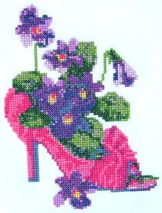 Advanced Embroidery Designs - Slipper with Violets