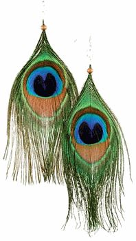 Peacock Feather Eye Earrings - pagan wiccan witchcraft magick ritual supplies
