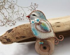 Brooch Dove made of wool and copper, pretty dove pin brooch, felt bird dove  $30