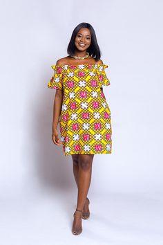 Ankara off-shoulder baby-doll dress African print dress