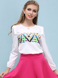 Multiple Colors Triangle Printing Pullover Round Neck Chiffon Shirt