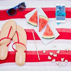 Who's ready for the weekend? Pick up a pair of red Faux-Leather Capri Sandals and practice your picnicking skills for the 4th of July. Find these and other great sandals at Old Navy.