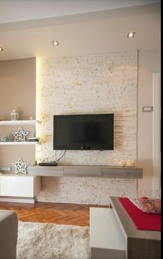 Nice tv wall free from wires