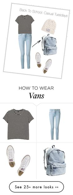 """Back To School: Casual Tuesdays"" by jackyramos729 on Polyvore featuring Frame Denim, Converse, Monki, H&M and Vans"