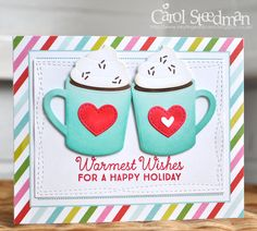 Inky Fingers: MFT Hot Cocoa Cups and Papertey Ink Christmas card