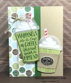 Lots of ideas using the Coffee Break suite of products, including the Coffee Cafe stamp set from Stampin' Up!. All details & instructions posted on klompenstampers.com by lorie