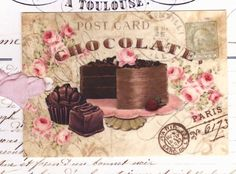 Gift Tags  Vintage French Style Chocolate Cake By Bluebird