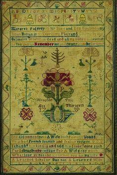 Rare Needlework Sampler, signed Margaret Palfrey, Boston, Massachusetts, Dated 1739