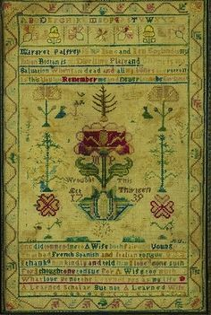 Rare Needlework Sampler, signed Margaret Palfrey, Boston, Massachusetts, Dated 1739
