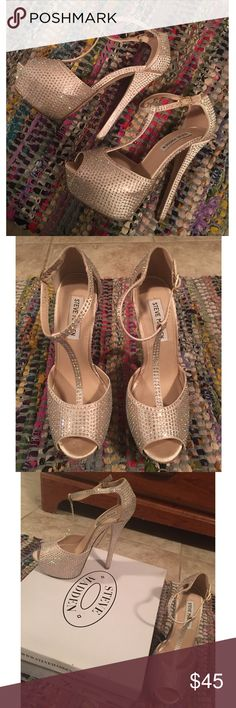 Steve Madden Rhinestone Peep Toe Heels Worn one time for wedding. Brand new condition Steve Madden Shoes Heels