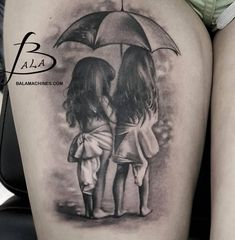 Realistic Grey Ink Little Girls Under Umbrella Tattoo On Thigh by Luke Sayer