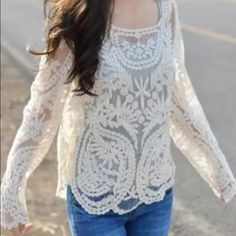 Crochet Lace Top Crochet woven top. Delicate and beautiful. Measures 21 inches across from pit to pit. Boutique Tops Blouses