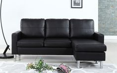 Metro Modern Reversible Small Bonded Leather Sectional