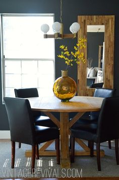 Reclaimed Wood Table Black Wall @ Vintage Revivals