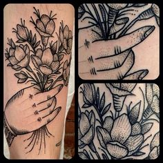 .@matthew_houston | Hand full of freesias #matthouston #matthewhouston #gastowntattoo #traditiona...