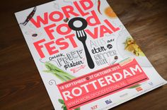 Rotterdam World Food Festival used Azo Sans as the event's main typeface. Azo was used across all their visual comunication, from posters and banners to programs and flyers. Festival Logo, Festival Posters, Event Branding, Logo Branding, Rotterdam, Food Truck Festival, Print Design, Graphic Design, Identity Design