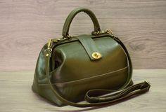 Classic English Green Genuine Leather valise by FeltSilkArtGift