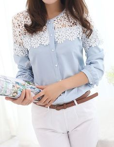 Round Neck Long Sleeve Lace Spliced Hollow Women's Blouse. So cute.