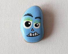 Painted Baltic Sea Stone Nick The Laughing by ChestFullOfMemories