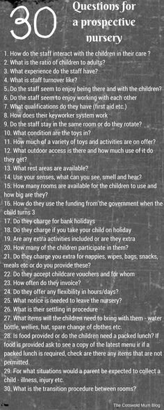 30 comprehensive questions to ask a prospective nursery Questions To Ask, This Or That Questions, Nursery, Blog, Babies Rooms, Blogging, Baby Room, Child Room, Project Nursery