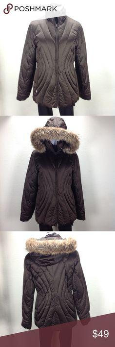Anna Brown Quilted Down Coat w/Removable Hood Brown quilted coat filled with 60% down and 40% fowl feathers. Features detachable hood with faux fur hood, 2 front pockets and 2 interior pockets. In excellent condition with no visible stains or piling. This coat is very warm. Thanks for your interest!  Please checkout the rest of my closet. Anna Jackets & Coats