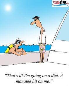 Scuba Cartoon: Manatee Date | #scubadiver #scubadivingquotesfunny #scubadivingtrips