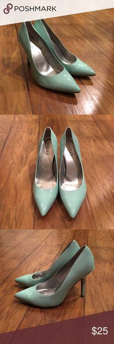 """‼️VETERANS SALE‼️Fashion Heels Mint colored heels. EUC super cute heels. Heel height is 4"""". Has a couple marks on it from wearing, but not really noticeable. If you would like extra pictures, just ask. :-) offers accepted. 25% off on bundles. 😊 Guess Shoes Heels"""