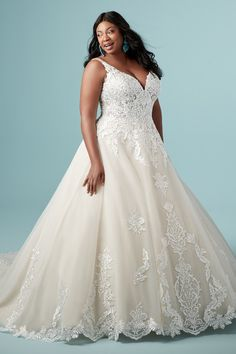 Maggie Sottero - TRINITY LYNETTE Plus Size Ball Gown Wedding Dress. Three things we love in Trinity Lynette: the embroidered lace, the curve-hugging silhouette, and the train. It's everything a plus-size ball gown wedding dress should be and more. How To Dress For A Wedding, Plus Size Wedding Gowns, Lace Wedding Dress, Maggie Sottero Wedding Dresses, Gorgeous Wedding Dress, Wedding Dress Styles, Designer Wedding Dresses, Tulle Wedding, Mermaid Wedding