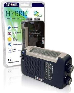 Duronic Hybrid Radio - Wind-Up, Solar & Rechargeable AM\FM Radio with USB charger cable by Duronic, http://www.amazon.co.uk/gp/product/B002D9FKDS/ref=cm_sw_r_pi_alp_Gx5crb18F5TYF