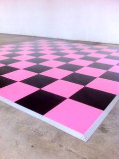 pink & black painted dance floor