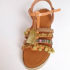 Boho style leather sandals in gold decoration by Ilgattohandmade
