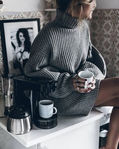 sweater tumblr grey sweater turtleneck sweater turtleneck ring silver silver ring jewels jewelry silver jewelry nail polish dark nail polish nails sweater weather cozy oversized turtleneck sweater