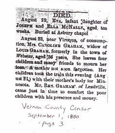 Death Notice in Vernon County Censor,