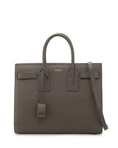 Sac de Jour Small Grained Leather Tote Bag, Gray by Saint Laurent at Bergdorf Goodman. Saint Laurent Tote, Tote Bag, Shoulder Strap, Bergdorf Goodman, Grey, Totes, September, Leather, Stuff To Buy
