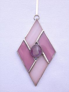 Stained Glass Ornament - Pink Diamond with Glass Gem, Found on ETSY...love the simplicity and shape.