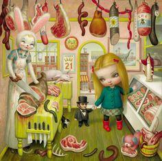 The Butcher Bunny by Pop Surrealism king: Mark Ryden Mark Ryden, Arte Lowbrow, Illustration Arte, Jeff Koons, Audrey Kawasaki, Tim Walker, Arte Horror, Arte Popular, Creepy Cute