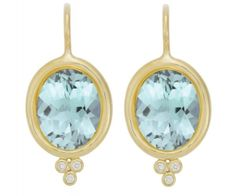 Temple St. Clair Classic Oval Earring with Faceted Aquamarine and Diamond Granulation
