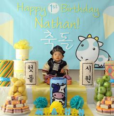This website had some great ideas for an Korean American 1st birthday. I think some of them would be cool to incorporate into Kaiden's 1st b-day party!