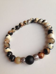 Black onyx and fire agate Men's bracelet by GinasCreativeDesigns