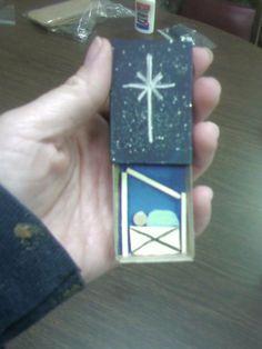 Matchbox Nativity Manger Scene with Baby Jesus for Christmas