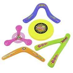 5 Piece Frisbee and Boomerang Set - Assorted Boomerangs and Frisbees in Bright Colors $6.99 (save $13.00)
