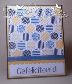 made by femke niessen. used a few dienamics and the SU honeycomb embossingfolders. for the prints I used the MFT washi patterns stamps. inspired by a card here on pinterest in my card ideas folder.