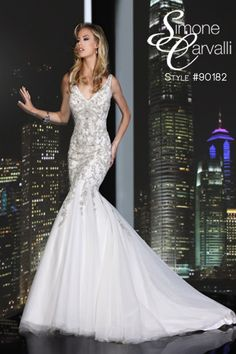 Available in ivory and white, Simone Carvalli 2014 wedding gown, style #90182 #tulle #mermaid #beadwork #vneck #sleeveless