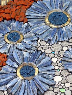Blue Matter – Line Mortensen – Mosaic Mosaic Garden Art, Mosaic Tile Art, Mosaic Pots, Mosaic Artwork, Pebble Mosaic, Stone Mosaic, Pebble Art, Mosaic Glass, Stained Glass